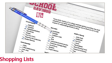 New For School Shopping List